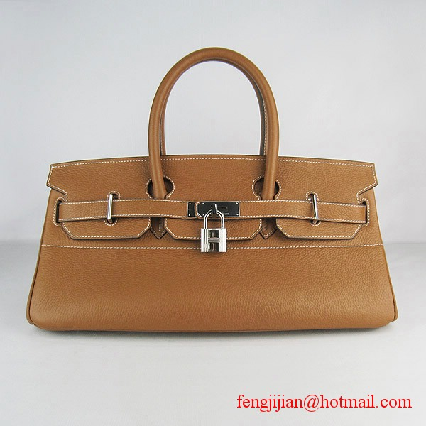 Hermes Birkin 42cm Togo Leather Bag 6109 Light Coffee silver padlock