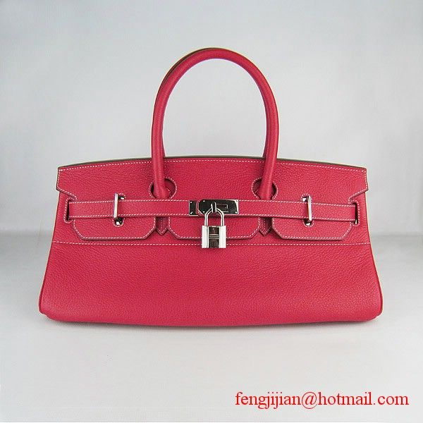 Hermes Birkin 42cm Togo Leather Bag 6109 Red silver padlock