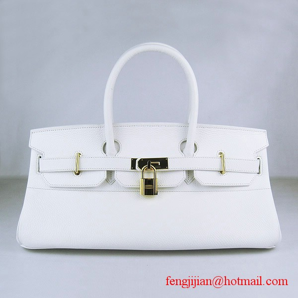 Hermes Birkin 42cm Togo Leather Bag 6109 White gold padlock