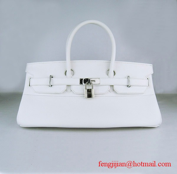 Hermes Birkin 42cm Togo Leather Bag 6109 White silver padlock