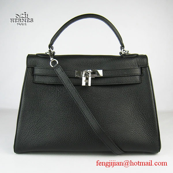 Hermes Kelly 32cm Togo Leather Bag Black 6108 Silver Hardware
