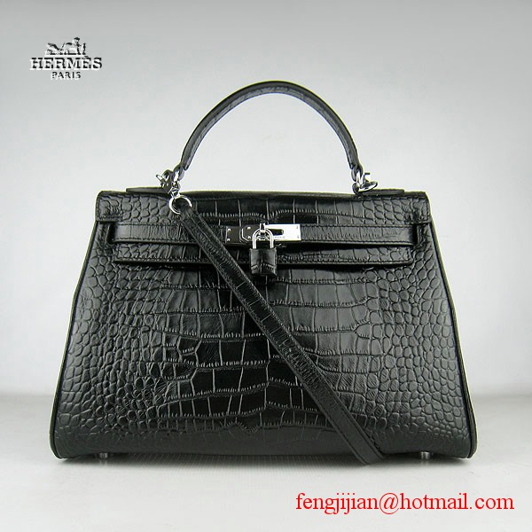 Hermes Kelly 32cm Crocodile Veins Leather Bag Black 6108 Silver Hardware