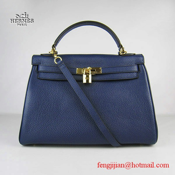 Hermes Kelly 32cm Togo Leather Bag Dark Blue 6108 Gold Hardware