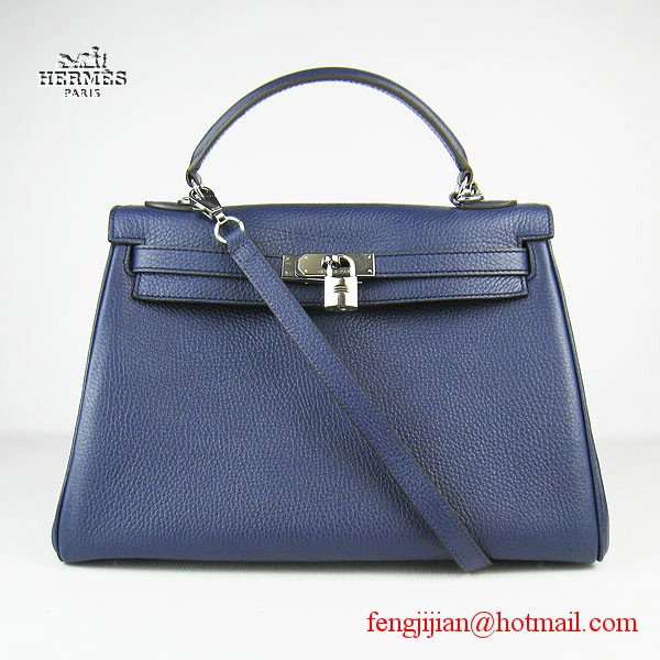 Hermes Kelly 32cm Togo Leather Bag Dark Blue 6108 Silver Hardware