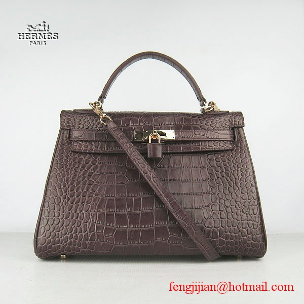 Hermes Kelly 32cm Crocodile Veins Leather Bag Dark Coffee 6108 Gold Hardware