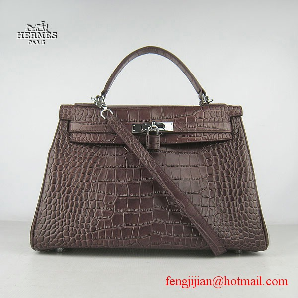 Hermes Kelly 32cm Crocodile Veins Leather Bag Dark Coffee 6108 Silver Hardware