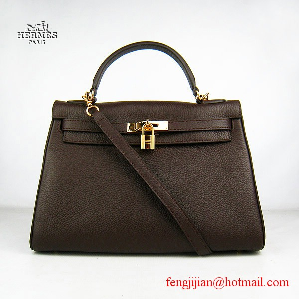 Hermes Kelly 32cm Togo Leather Bag Dark Coffee 6108 Gold Hardware