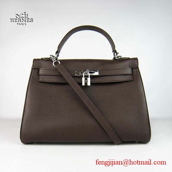 Hermes Kelly 32cm Togo Leather Bag Dark Coffee 6108 Silver Hardware