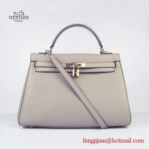 Hermes Kelly 32cm Togo Leather Bag Grey 6108