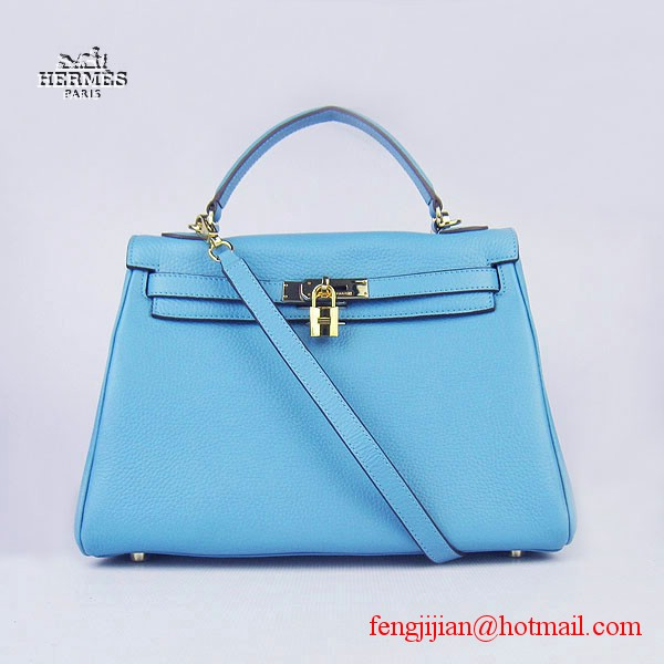 Hermes Kelly 32cm Togo Leather Bag Light Blue 6108 Gold Hardware