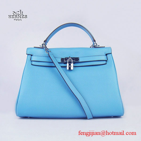 Hermes Kelly 32cm Togo Leather Bag Light Blue 6108 Silver Hardware