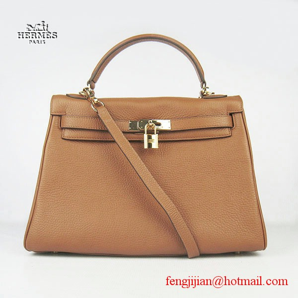 Hermes Kelly 32cm Togo Leather Bag Light Coffee 6108 Gold Hardware