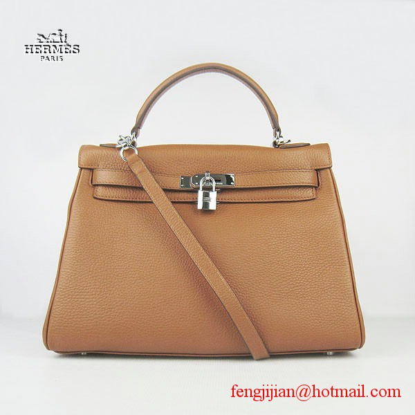 Hermes Kelly 32cm Togo Leather Bag Light Coffee 6108 Silver Hardware