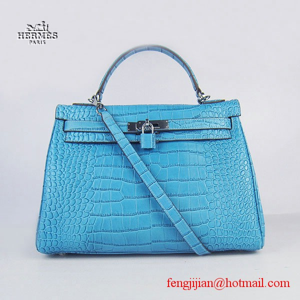 Hermes Kelly 32cm Crocodile Veins Leather Bag Blue 6108
