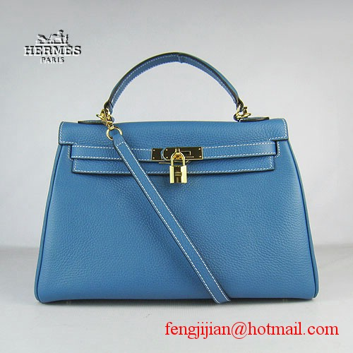 Hermes Kelly 32cm Togo Leather Bag Blue 6108 Gold Hardware