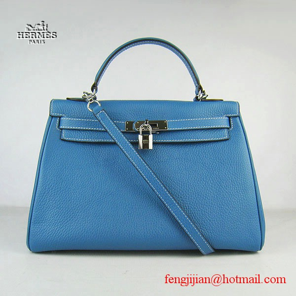Hermes Kelly 32cm Togo Leather Bag Blue 6108 Silver Hardware
