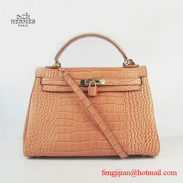 Hermes Kelly 32cm Crocodile Veins Leather Bag Orange 6108 Gold Hardware