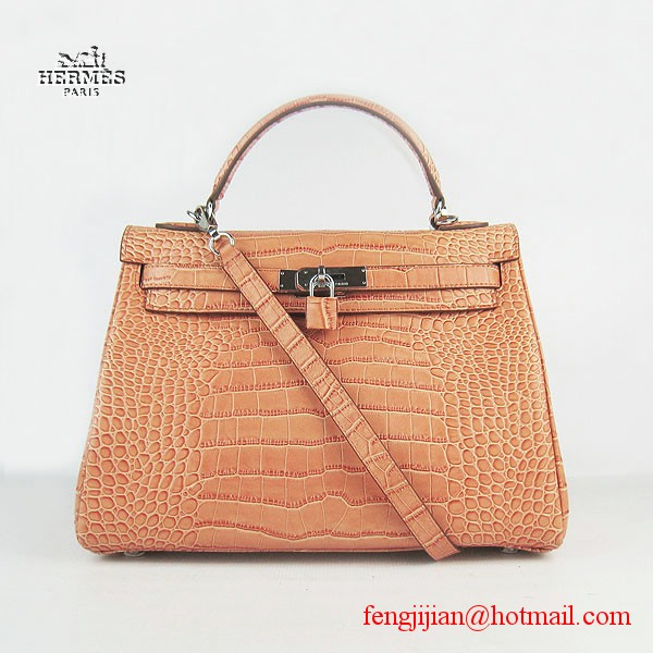 Hermes Kelly 32cm Crocodile Veins Leather Bag Orange 6108 Silver Hardware