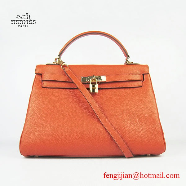 Hermes Kelly 32cm Togo Leather Bag Orange 6108 Gold Hardware