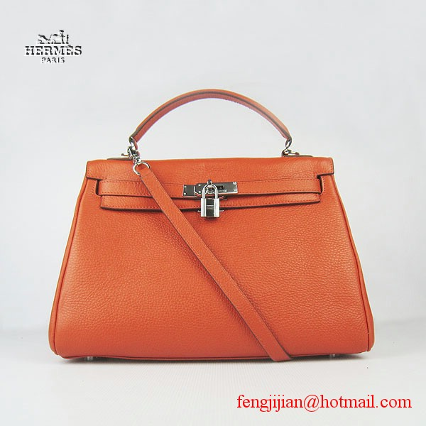 Hermes Kelly 32cm Togo Leather Bag Orange 6108 Silver Hardware