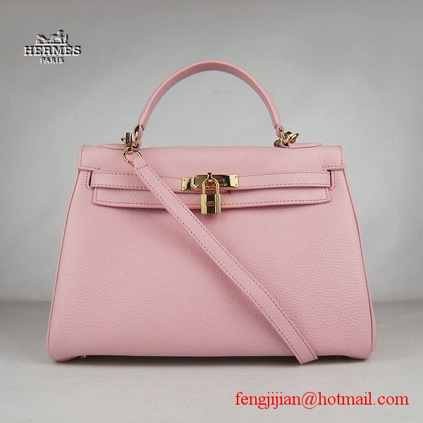 Hermes Kelly 32cm Togo Leather Bag Pink 6108 Gold Hardware