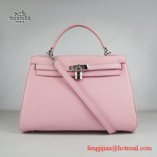 Hermes Kelly 32cm Togo Leather Bag Pink 6108 Silver Hardware