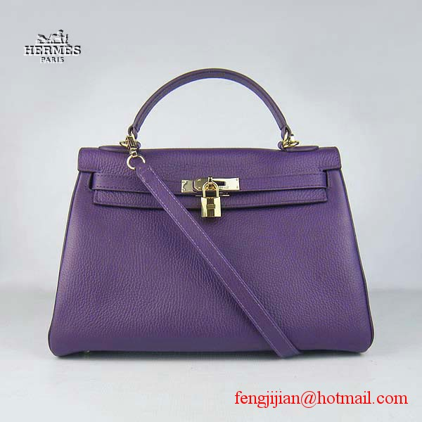 Hermes Kelly 32cm Togo Leather Bag Purple 6108 Gold Hardware