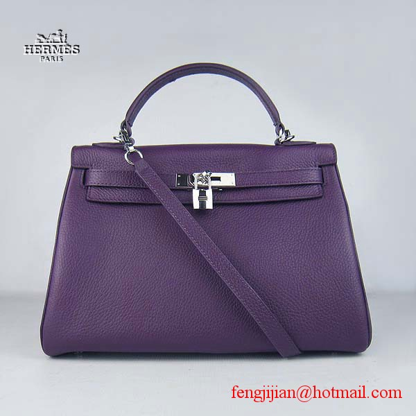 Hermes Kelly 32cm Togo Leather Bag Purple 6108 Silver Hardware