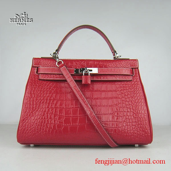 Hermes Kelly 32cm Crocodile Veins Leather Bag Red 6108 Silver Hardware