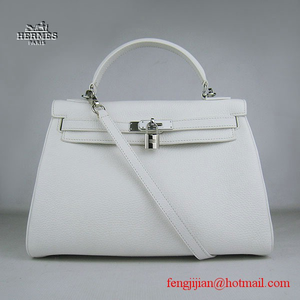 Hermes Kelly 32cm Togo Leather Bag White 6108 Silver Hardware