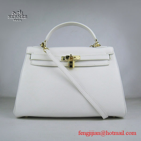 Hermes Kelly 32cm Togo Leather Bag White 6108 Gold Hardware