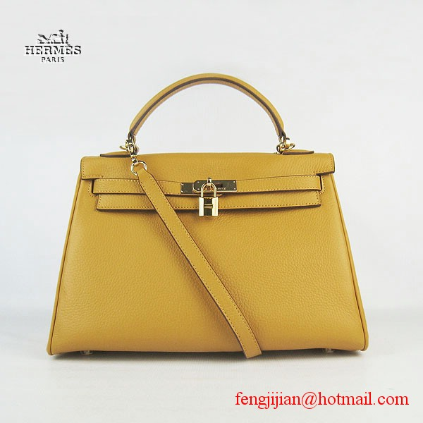 Hermes Kelly 32cm Togo Leather Bag Yellow 6108 Gold Hardware