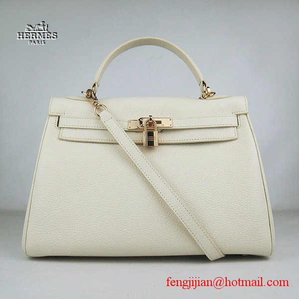 Hermes Kelly 32cm Togo Leather Bag Beige 6108 Gold Hardware