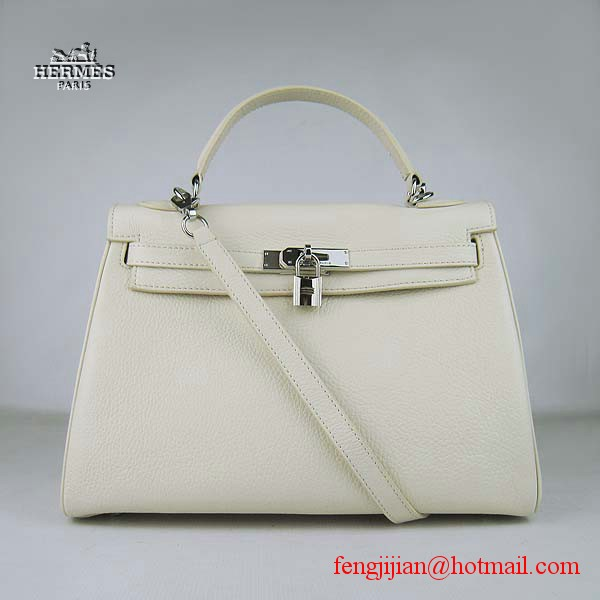 Hermes Kelly 32cm Togo Leather Bag Beige 6108 Silver Hardware