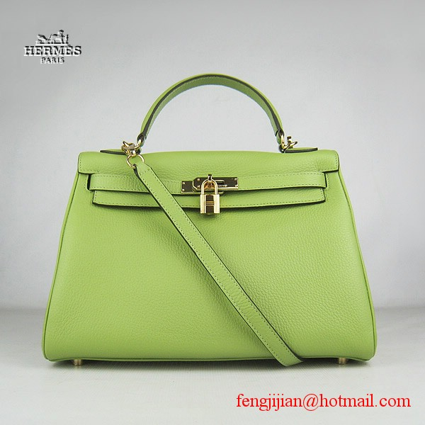 Hermes Kelly 32cm Togo Leather Bag Green 6108 Gold Hardware