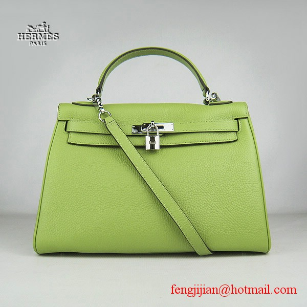 Hermes Kelly 32cm Togo Leather Bag Green 6108 Silver Hardware