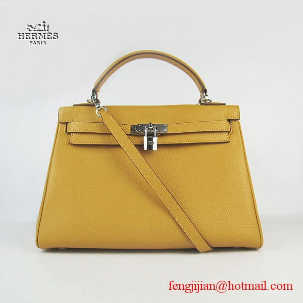 Hermes Kelly 32cm Togo Leather Bag Yellow 6108 Silver Hardware