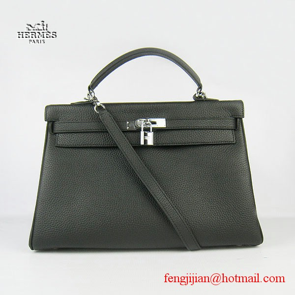 Hermes Kelly 35cm Togo Leather Bag Black 6308 Silver Hardware