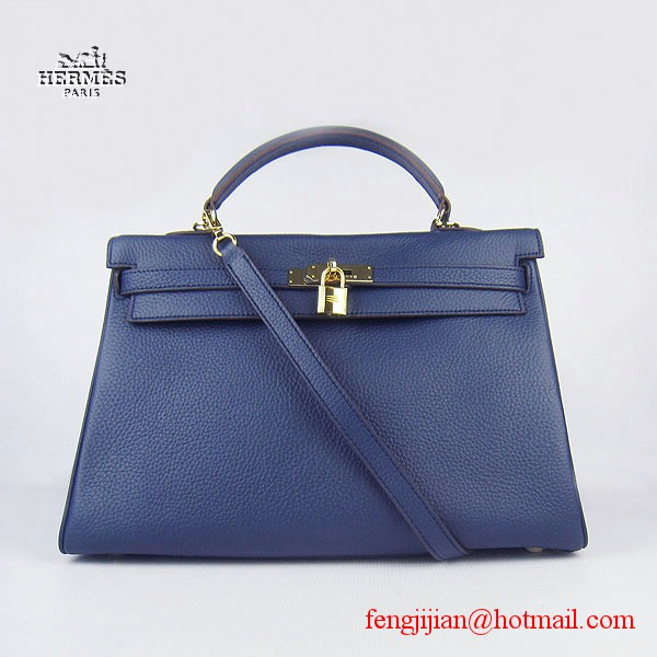 Hermes Kelly 35cm Togo Leather Bag Dark Blue 6308 Gold Hardware
