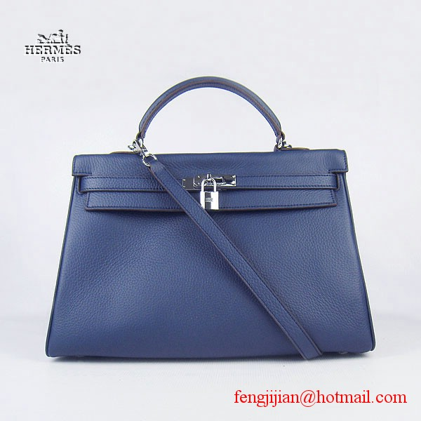 Hermes Kelly 35cm Togo Leather Bag Dark Blue 6308 Silver Hardware
