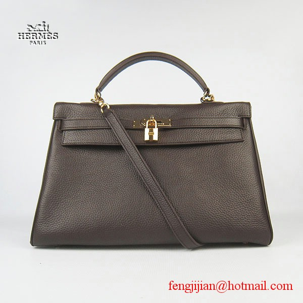 Hermes Kelly 35cm Togo Leather Bag Dark Coffee 6308 Gold Hardware