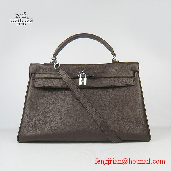 Hermes Kelly 35cm Togo Leather Bag Dark Coffee 6308 Silver Hardware