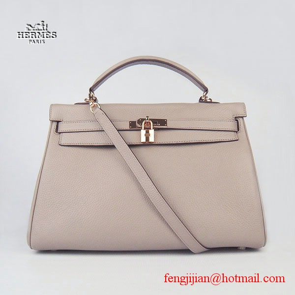 Hermes Kelly 35cm Togo Leather Bag Grey 6308 Gold Hardware