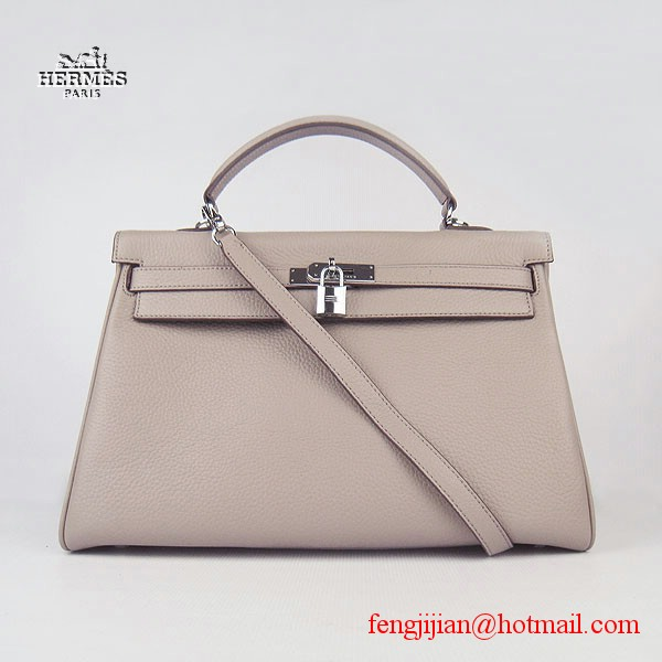 Hermes Kelly 35cm Togo Leather Bag Grey 6308 Silver Hardware