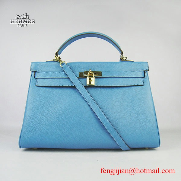 Hermes Kelly 35cm Togo Leather Bag Light Blue 6308 Gold Hardware