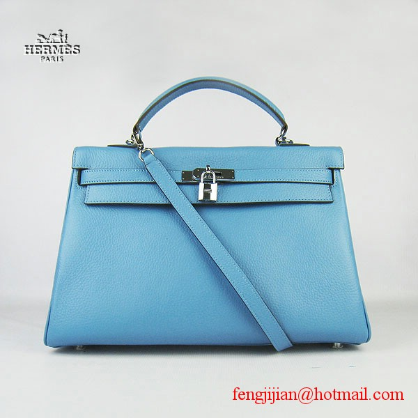 Hermes Kelly 35cm Togo Leather Bag Light Blue 6308 Silver Hardware