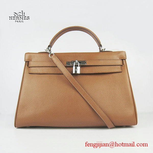 Hermes Kelly 35cm Togo Leather Bag Light Coffee 6308 Silver Hardware