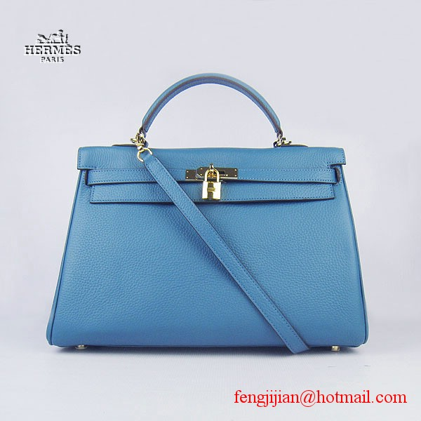 Hermes Kelly 35cm Togo Leather Bag Blue 6308 Gold Hardware