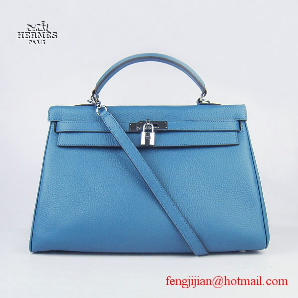 Hermes Kelly 35cm Togo Leather Bag Blue 6308 Silver Hardware