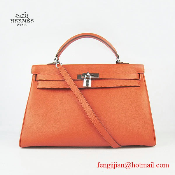 Hermes Kelly 35cm Togo Leather Bag Orange 6308 Silver Hardware